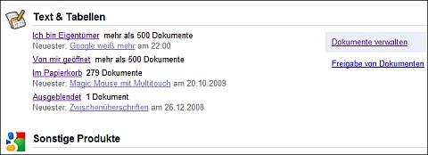 Google Dashboard Docs